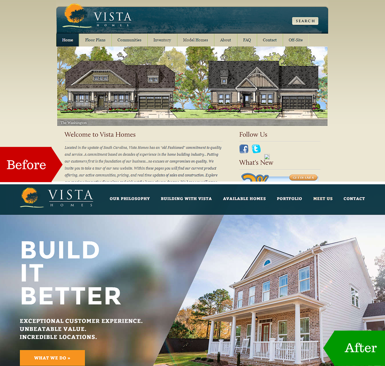 Before and After image of a client's website