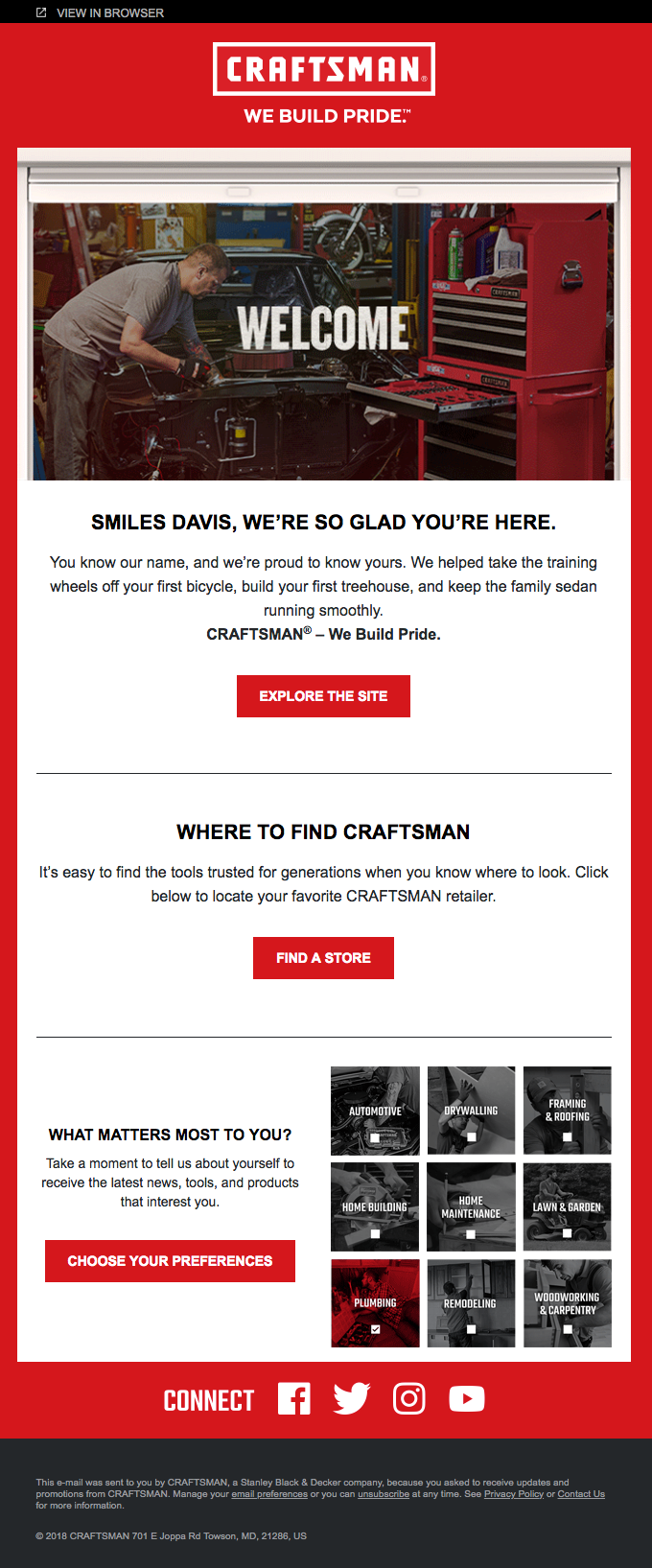 craftsman welcome email