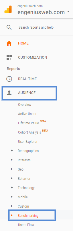 image showing how to find google analytics industry benchmarks
