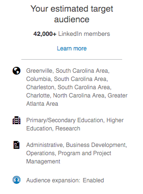 An example of LinkedIn ad targeting focusing on decision makers in education