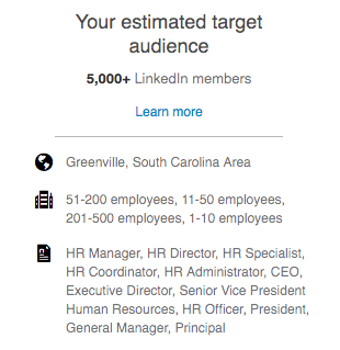An example of LinkedIn ad targeting focusing on HR professionals