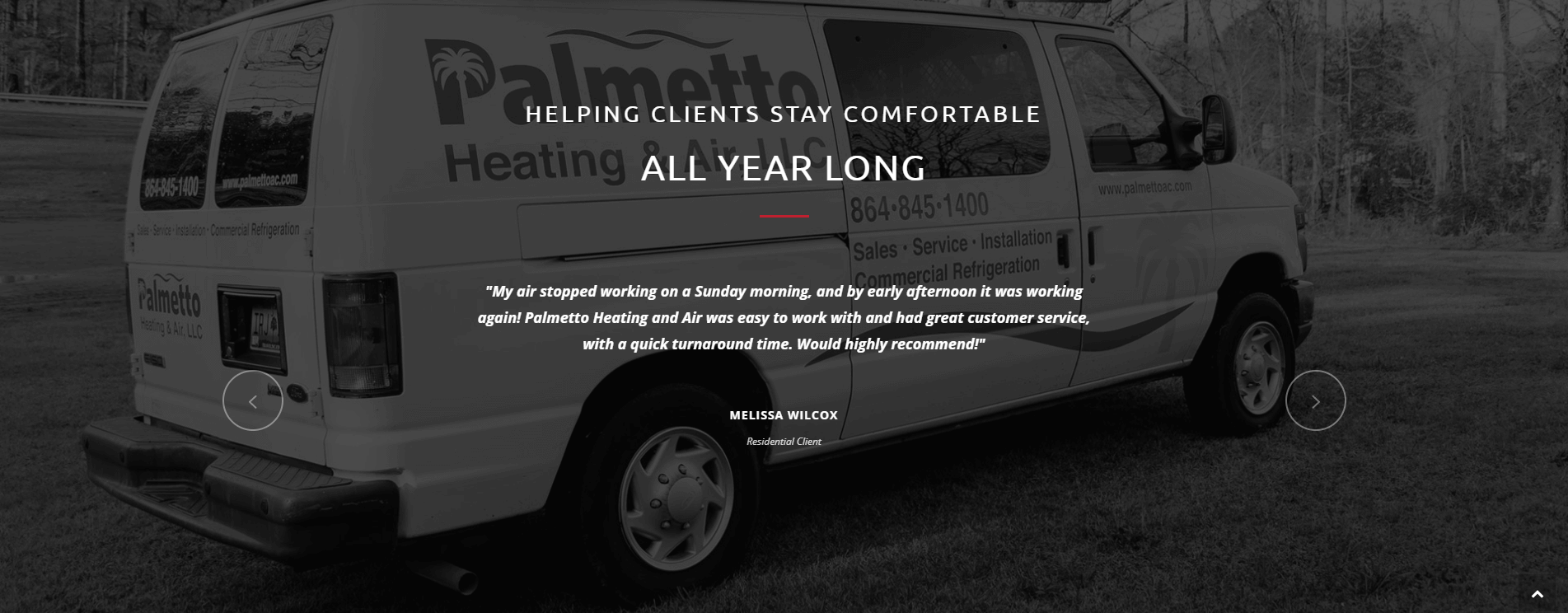 Testimonials from the Palmetto Heating & Air website