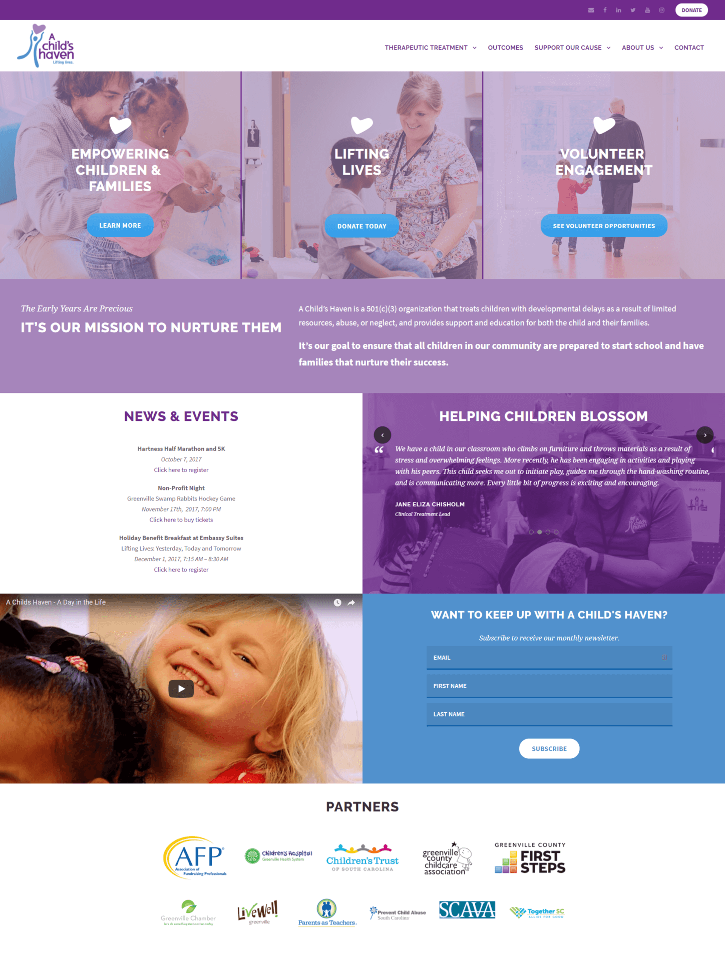 A Child's Haven homepage after the website redesign
