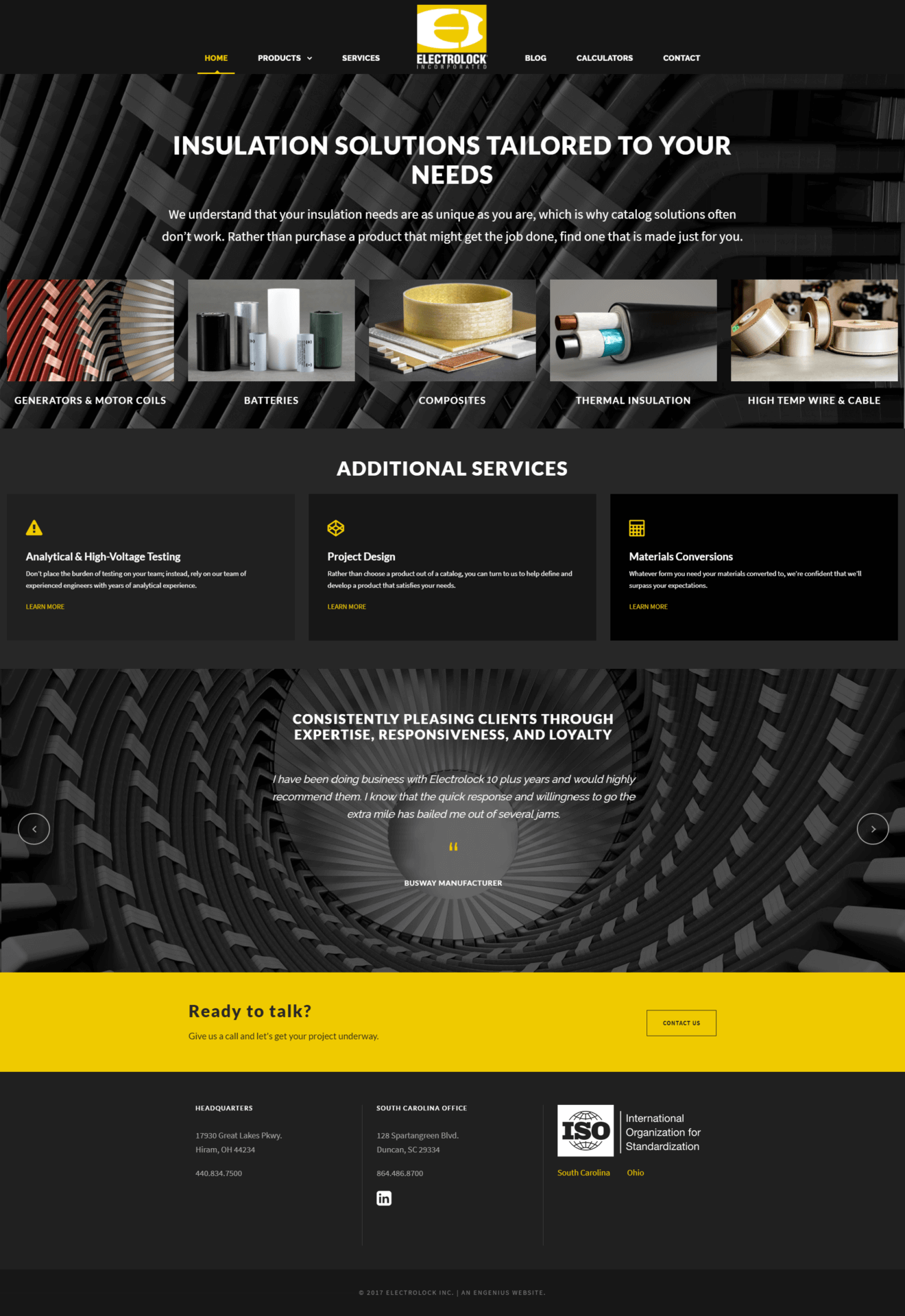Electrolock homepage after the website redesign