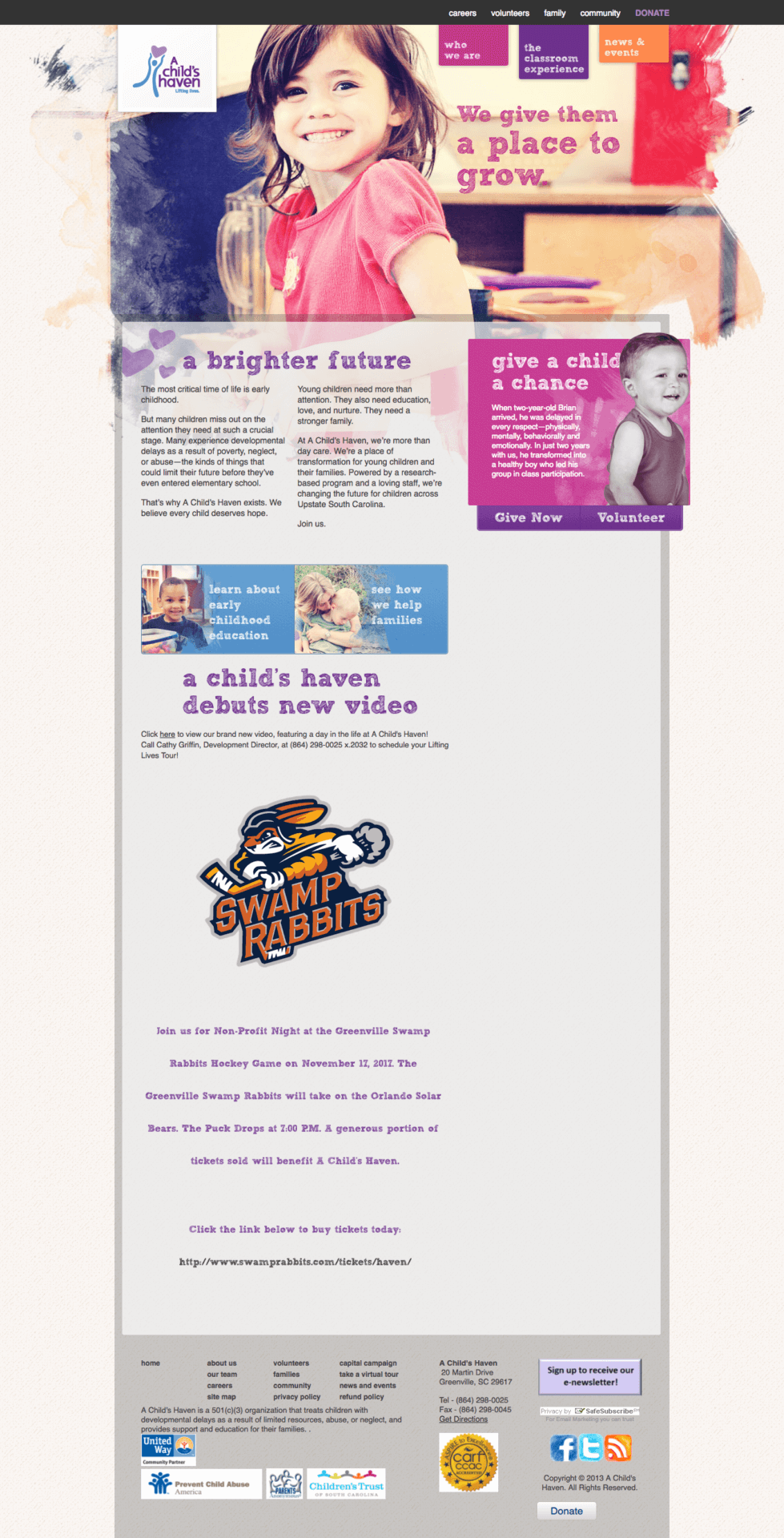 A Child's Haven homepage before the website redesign