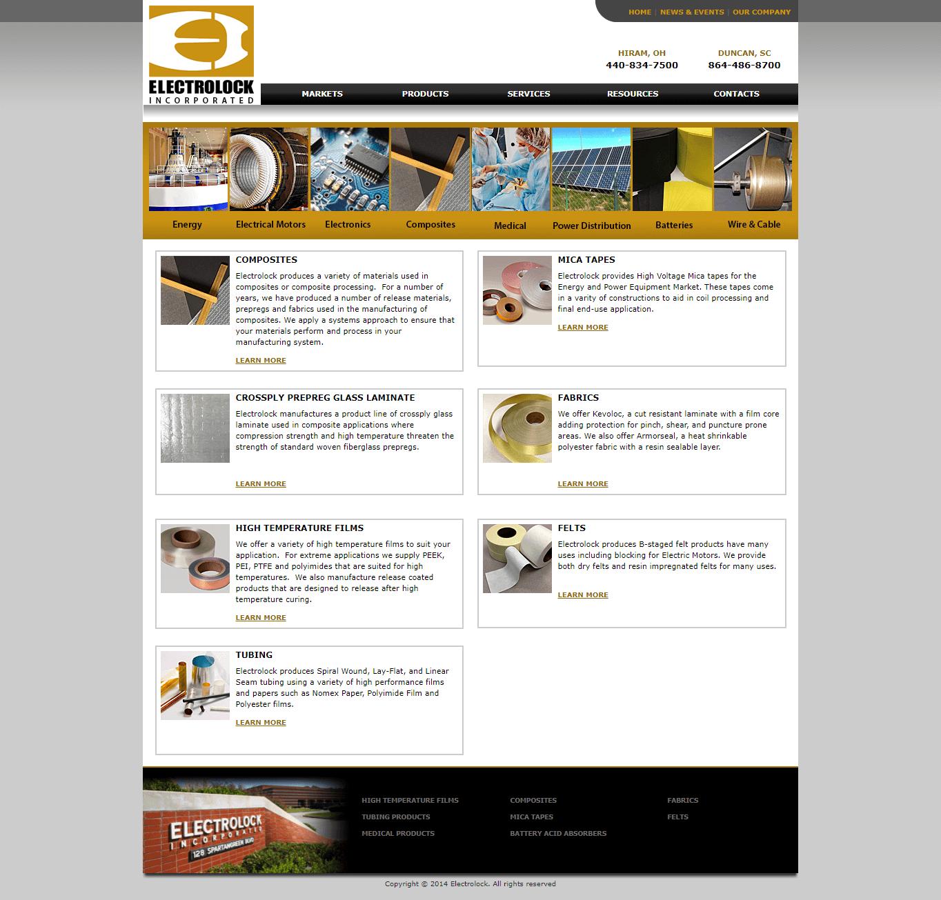 Electrolock homepage before the website redesign