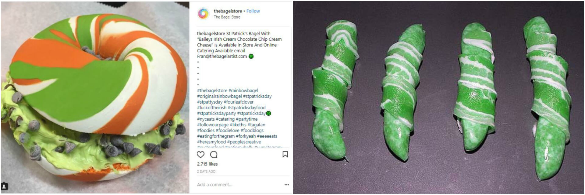 Food dyed green for St. Patrick's Day