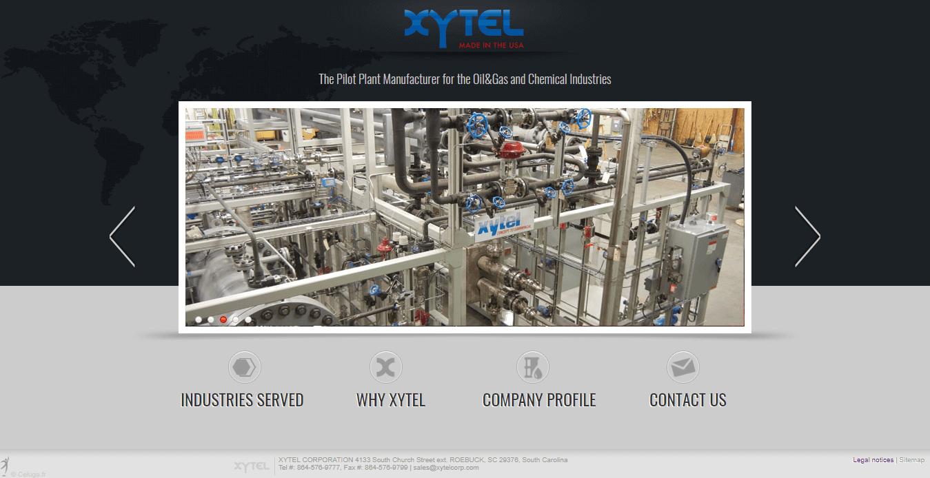 Old Xytel Website Homepage