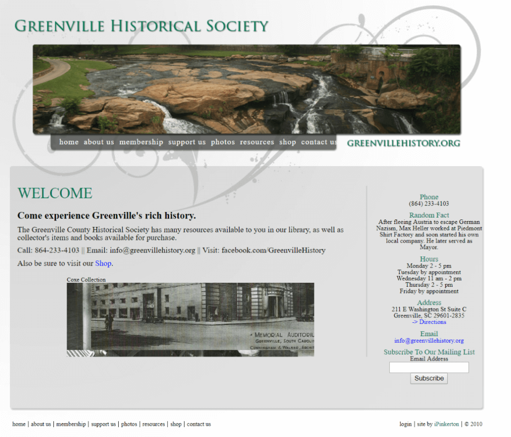Greenville County Historical Society old website's homepage