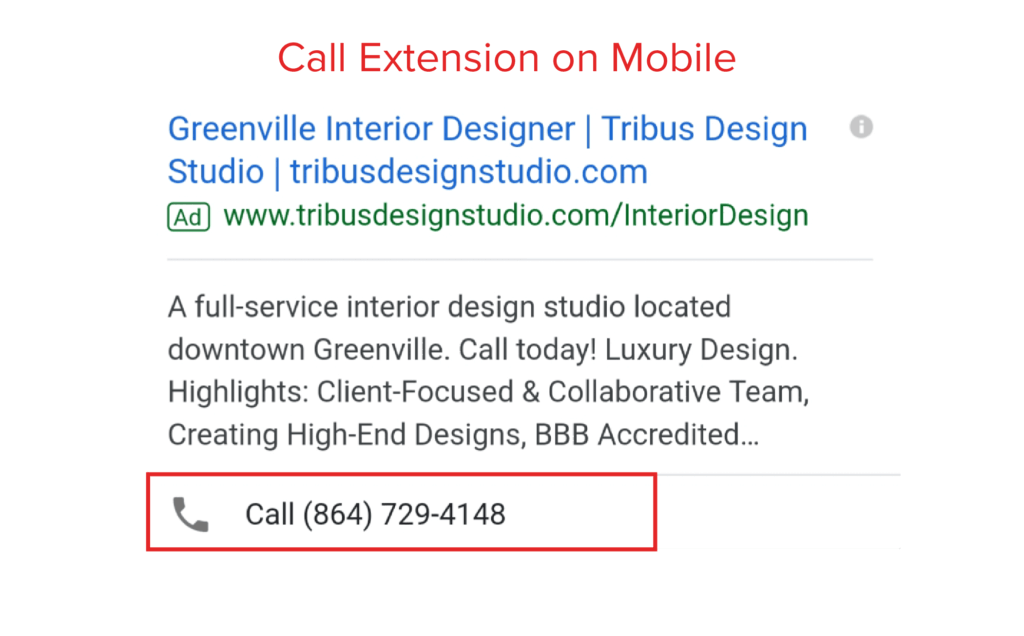 screenshot of a call extension on a mobile google ad