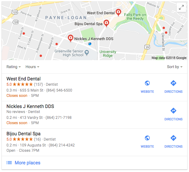 local seo map pack greenville sc