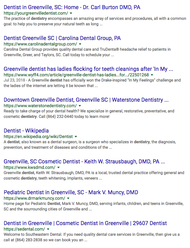 organic results of local google search