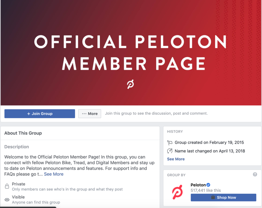 peleton private facebook group
