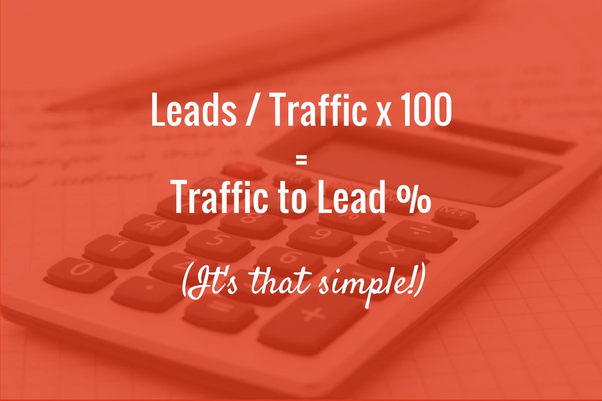 lead generation calculation: leads / traffic x 100 = Traffic to Lead %