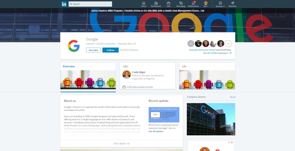 Company LinkedIn profile tips