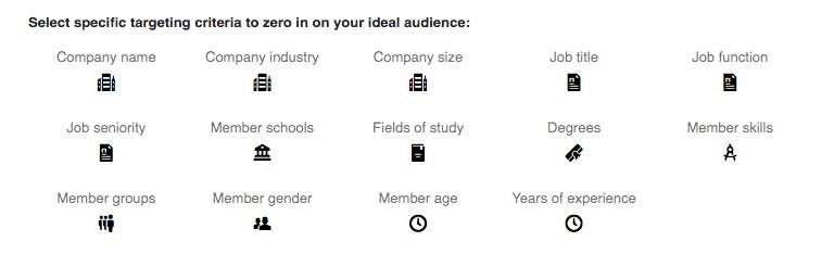 List of targeting parameters for LinkedIn advertising