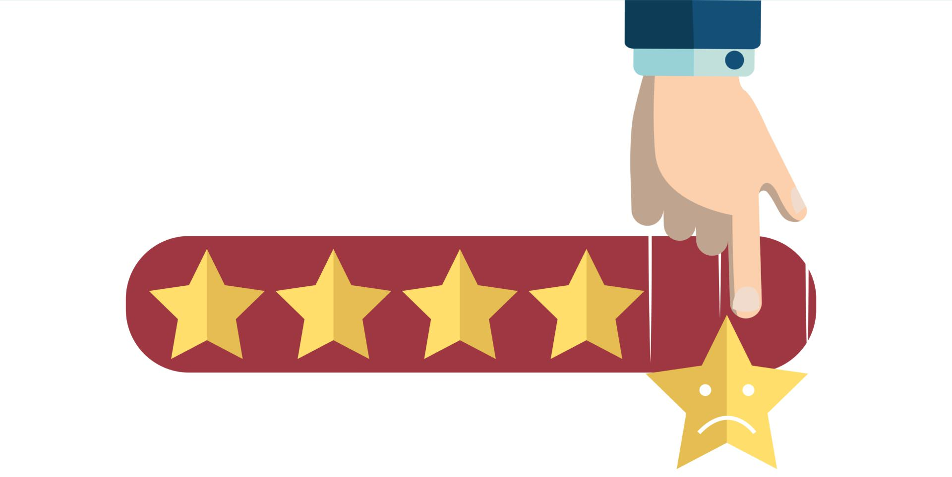 graphic depicting a negative online review