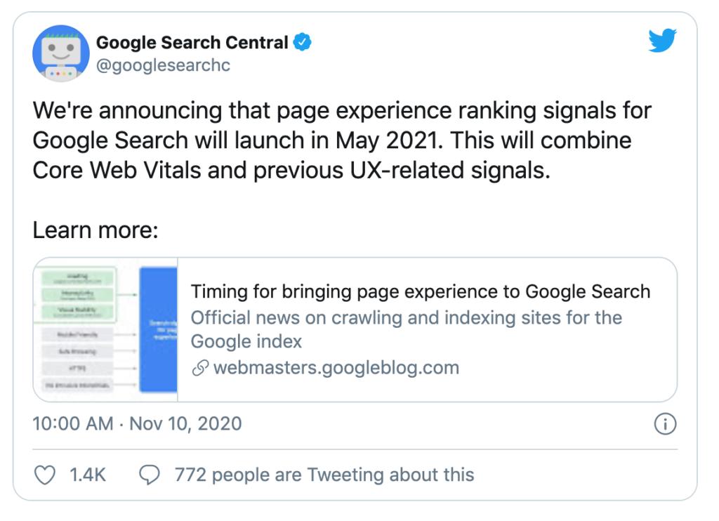 google's core web vitals announcement
