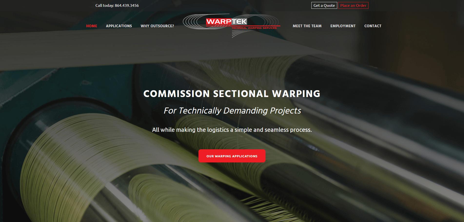 The homepage for the WarpTek website