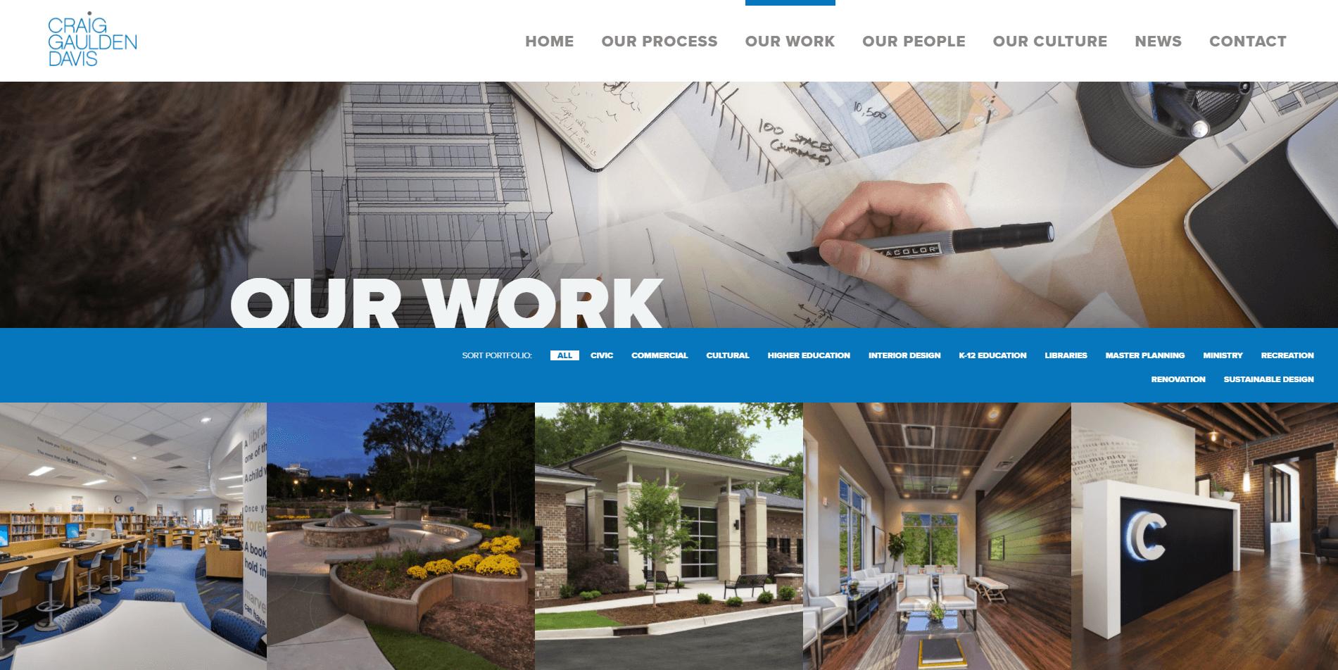 The portfolio web page from the Craig Gaulden Davis website