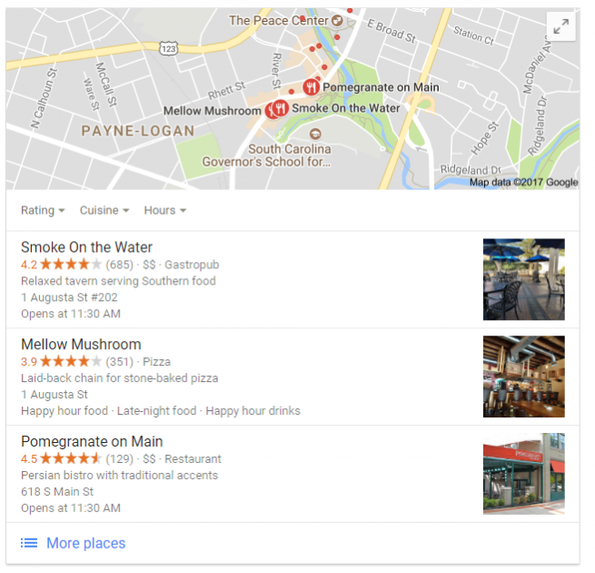 Screenshot of a local pack result from Google
