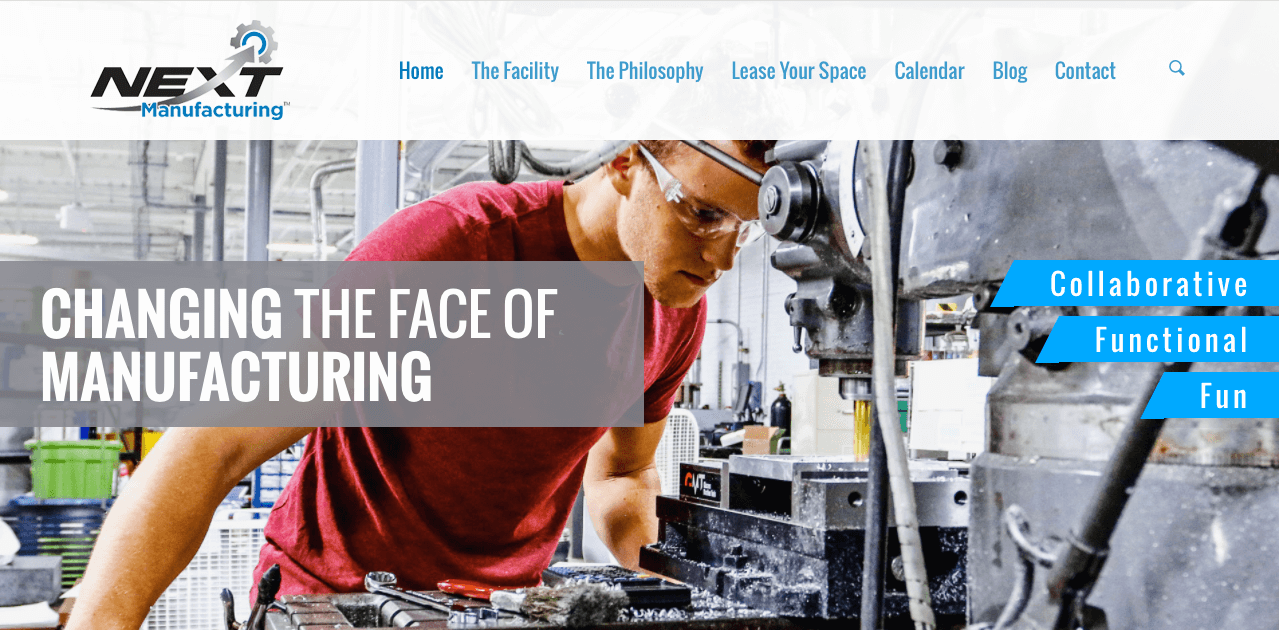 web design trends NEXT Manufacturing authentic photography