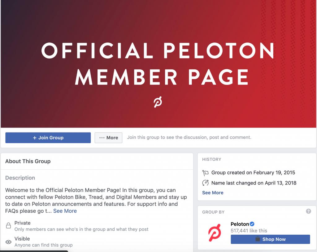 peleton private facebook group