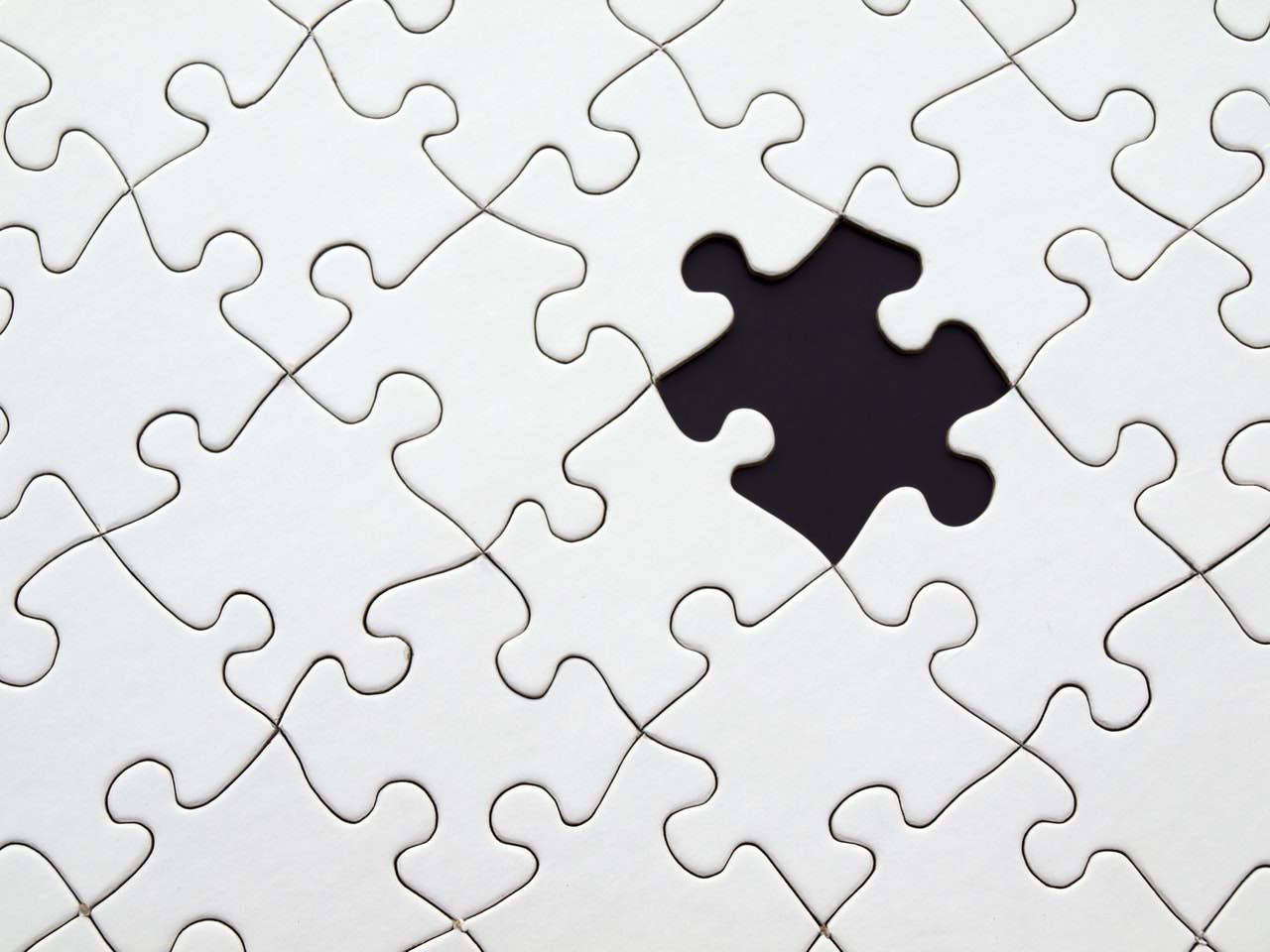 Puzzle with a piece missing